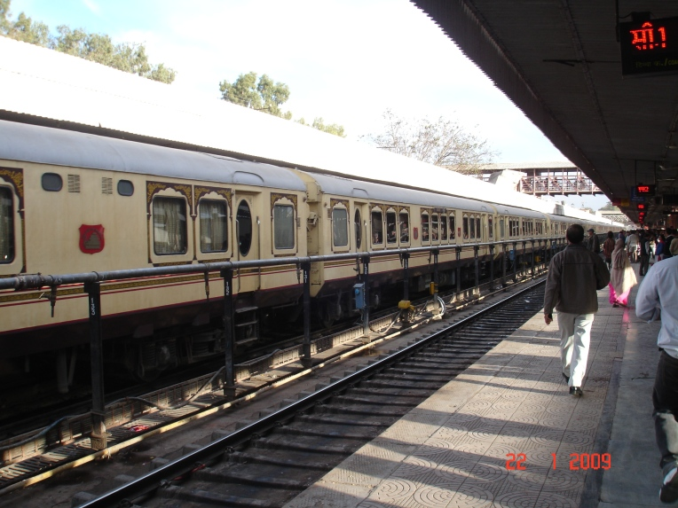 The Palace on wheels at a stop at the Jaipur Railway station.It is considered one of the most expensive luxury trains in the world.