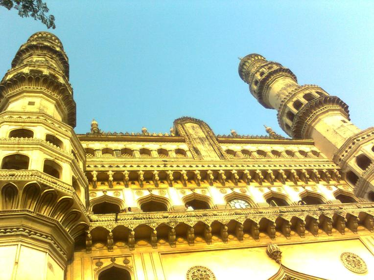 A monument that needs help-The Charminar in the middle of dust, crowds and chaos on a hot summer afternoon.